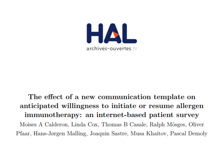 The effect of a new communication template on anticipated willingness to initiate or resume allergen immunotherapy: an internet-based patient survey