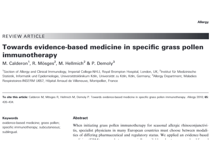 Towards evidence-based medicine in specific grass pollen immunotherapy
